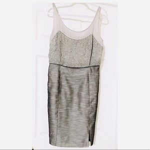 Kay Unger Silver Silk Beaded Bodice Cocktail Dress